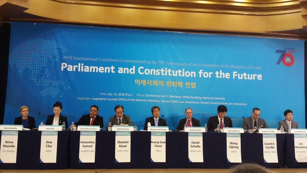 Konferensi International tentang Parliament and Constitutuon for the Future, National Assembly Republic of Korea, 12 July 2018.